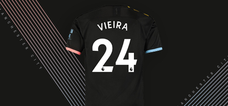 Manchester City away jersey with custom print 2019/20