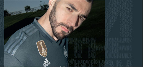 Karim Benzema presenting new Real Madrid away jersey for the 2018/19 season