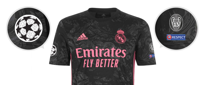 UEFA Champions League Real Madrid Third Jersey 2020/21 badges